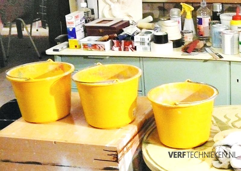 workshop verftechnieken, kwasten spoelen