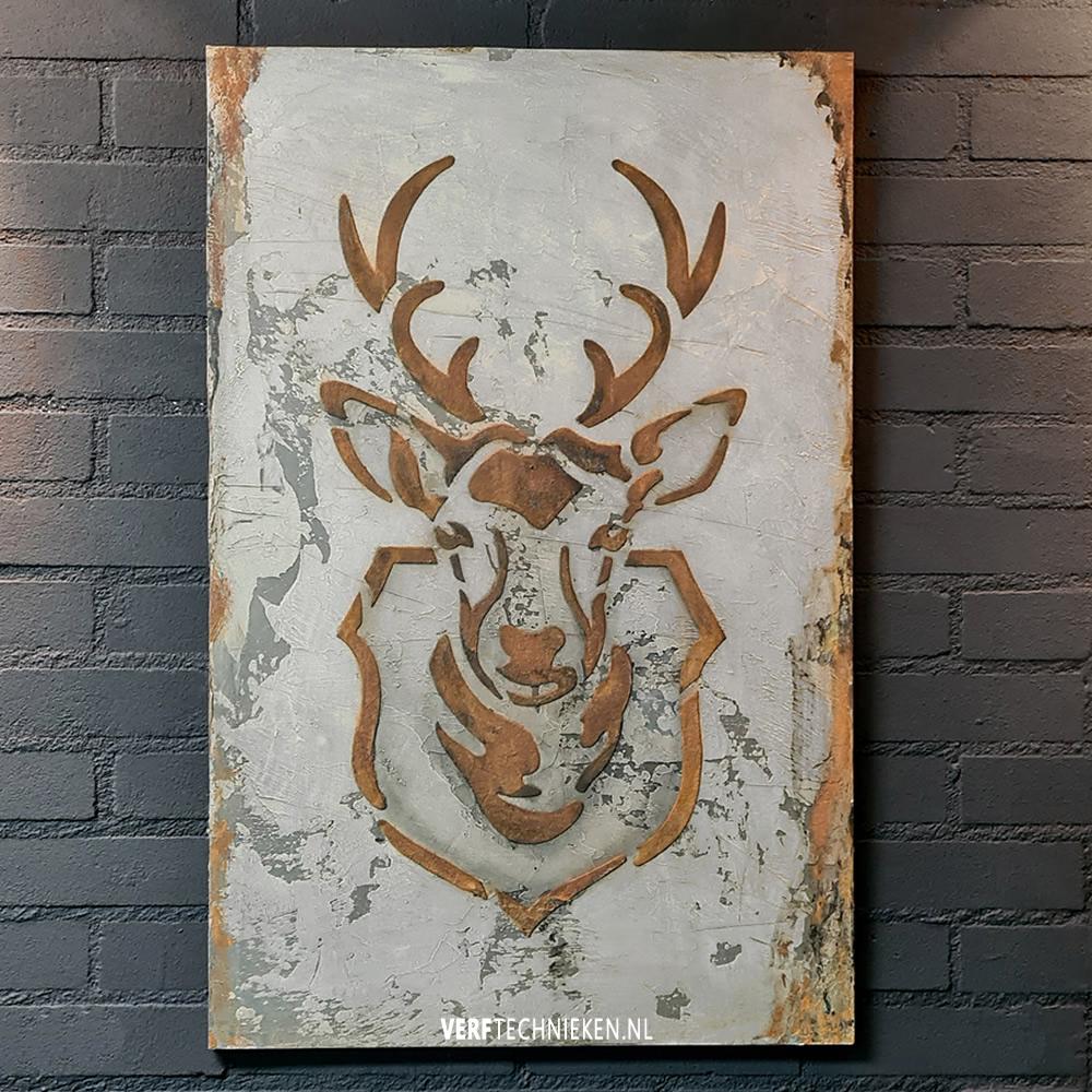 Wandbord Hert in beton en roest