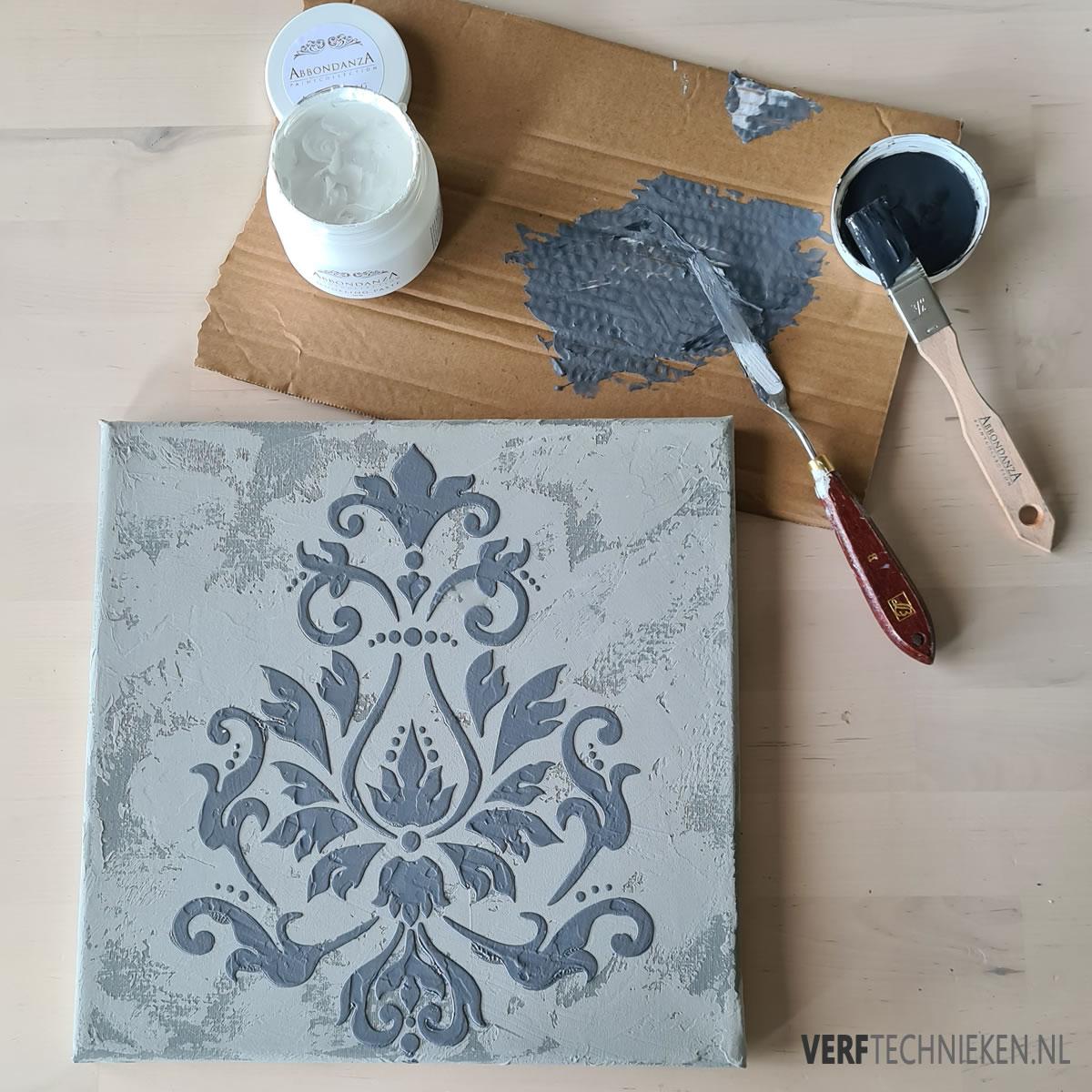 Canvas met betonlook en stencil
