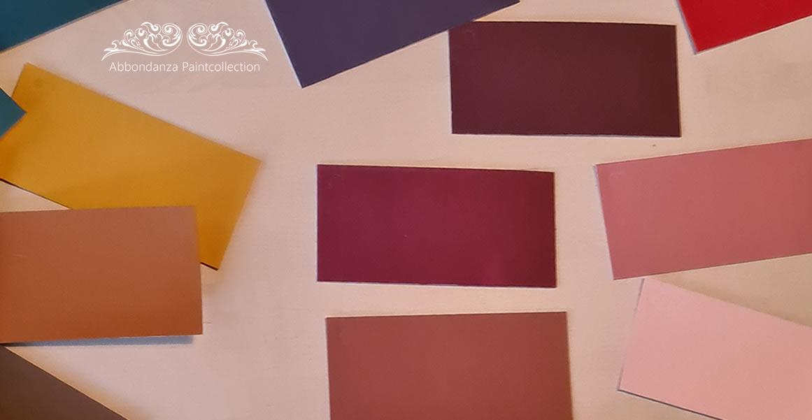 Abbondanza kleurstalen handgeschilderd