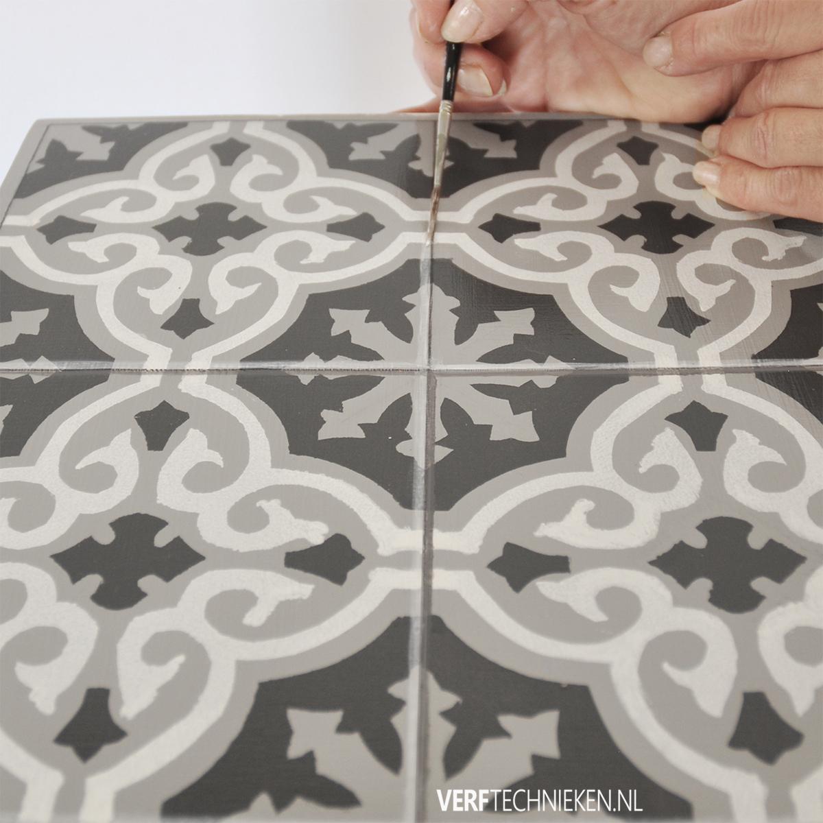 Tegelpatroon stencillen highlights en schaduwen