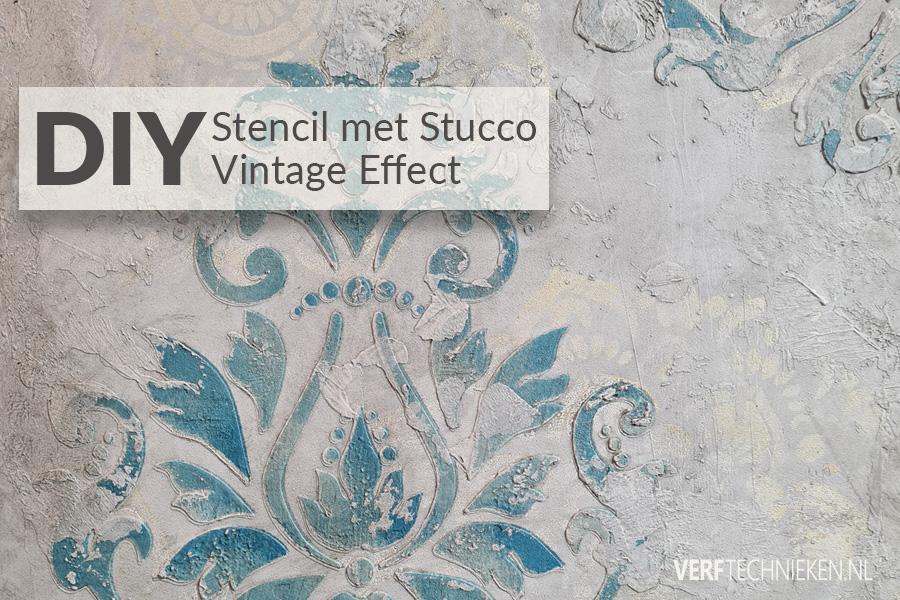 Stencil met vintage pleister effect
