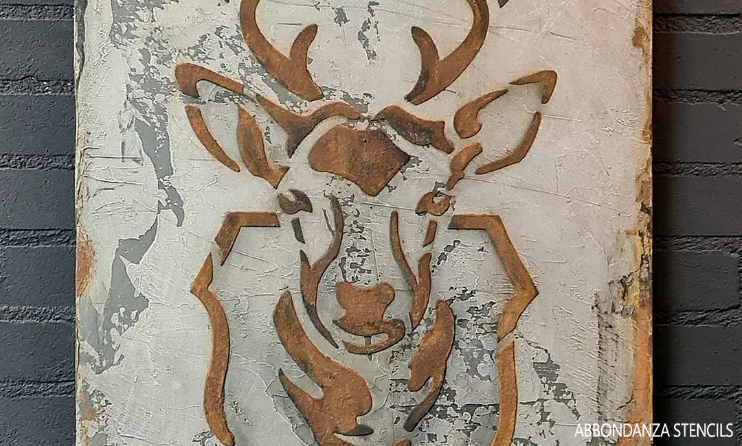 Wandbord met stencil Hert in vintage look