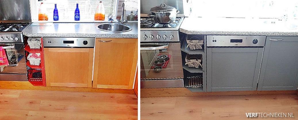 Keuken geverfd met Abbondanza Soft Silk Concrete