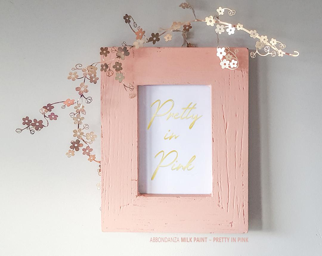 Milk Paint lijstje geverfd met roze tint Pretty in Pink