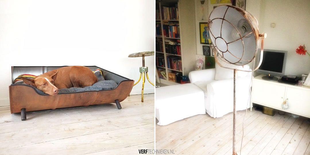 Rusty-Effect voorbeeld hondenmand en industriele lamp
