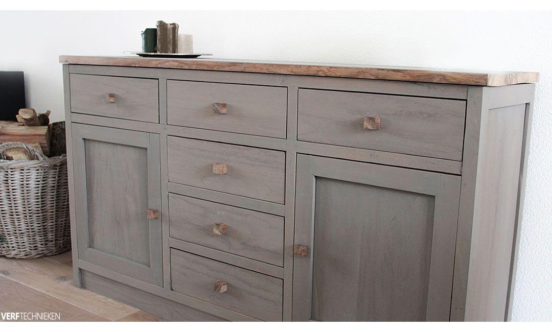 Teakhout dressoir greywash met krijtverf Taupe