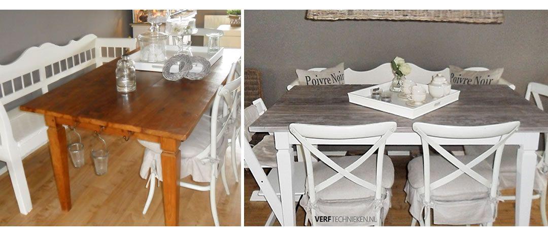 Teakhouten tafel met colourwax Grey