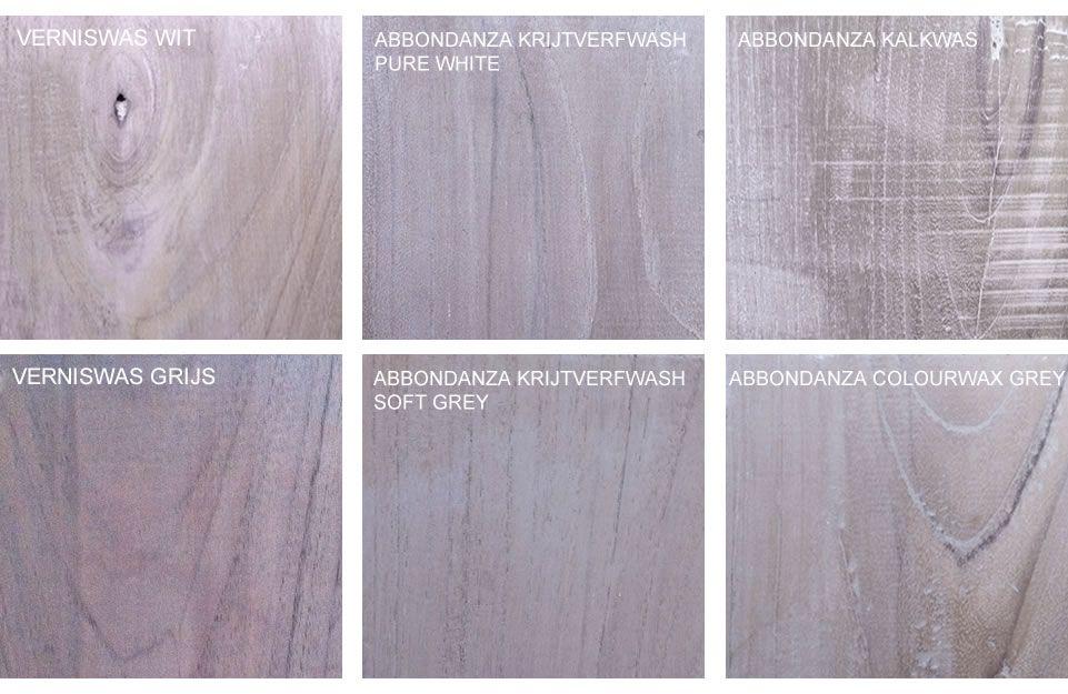 Teakhout voorbeelden van whitewash en greywash