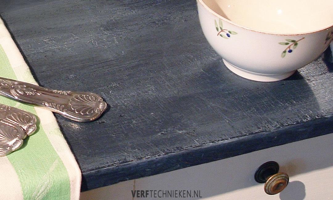 Leisteen Effect met krijtverf en kalkwas